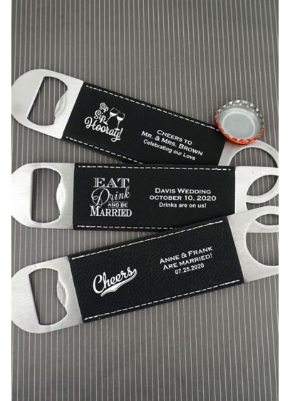 Personalized Faux Leather Paddle Bottle Openers - A toast to the newlyweds! Heavy duty personalized