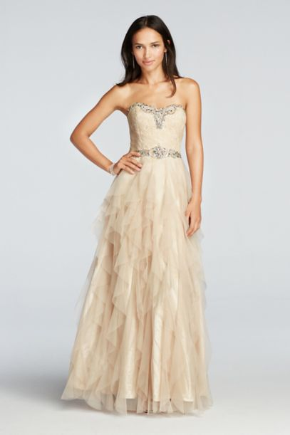 Crystal Beaded Prom Dress With Ruffled Skirt Davids Bridal