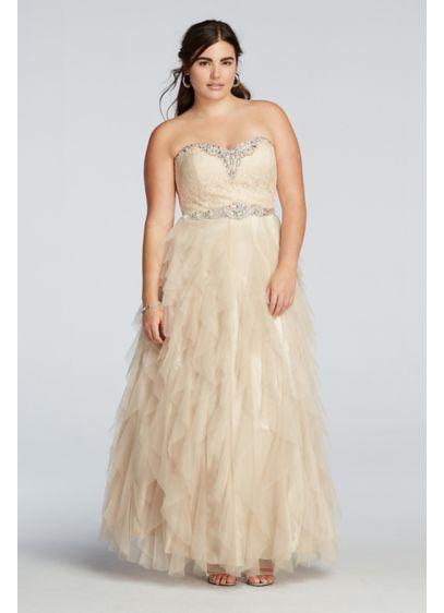 Crystal Beaded Prom Dress with Ruffled Skirt | David\'s Bridal
