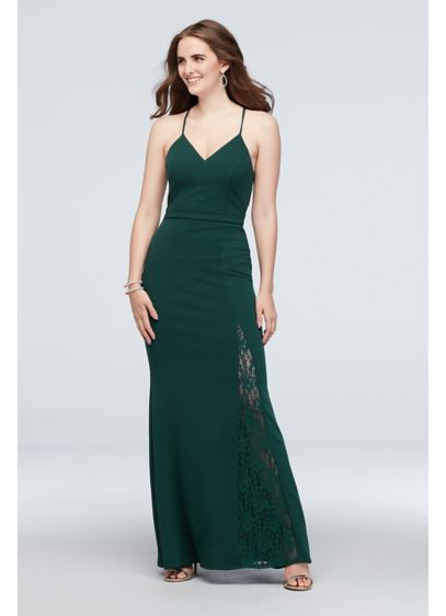 Lace Racerback Scuba Crepe Mermaid Gown - A modern lace racerback adds a touch of