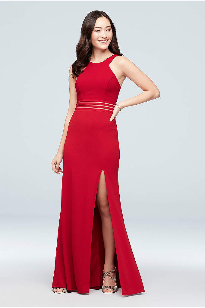 Double-Strap Scuba Crepe Dress with Illusion Waist - Slim bands of illusion mesh adorn the waistline