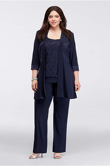 Mock Two Piece Lace and Jersey Pant Suit