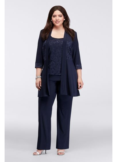 Mock Two Piece Lace and Jersey Pant Suit - Stylish and comfortable, this sophisticated mock two piece