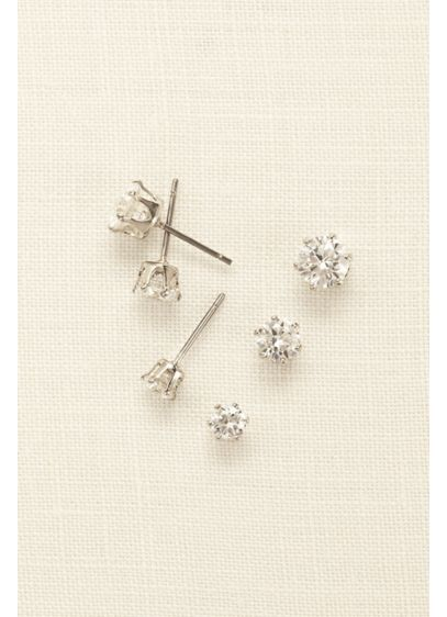 Crystal Stud Earring Trio Set - Wedding Accessories