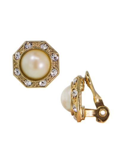 Crystal and Pearl Clip-On Earrings - Wedding Accessories