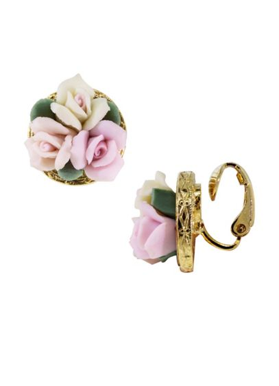 Porcelain Bouquet Clip-On Earrings - Wedding Accessories