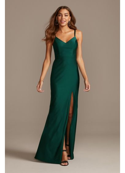 Double Strap Slip Dress with Lacy Back and - Channel your inner supermodel in this 90's-inspired slinky