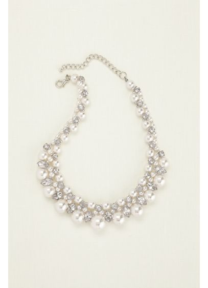 Pearl and Crystal Statement Necklace - Wedding Accessories