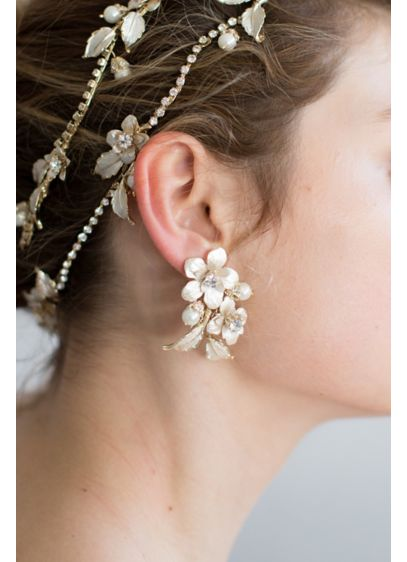 Full Bloom Crystal and Brass Flower Earrings - Inspired by a flower garden in full bloom,
