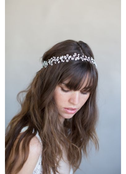 Delicate Beaded Flower and Crystal Hair Vine - Wedding Accessories