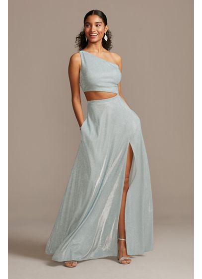 Iridescent Glitter One Shoulder Gown with Cutout - Turn heads in this one-shoulder A-line dress, featuring