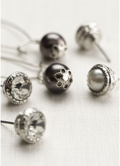 David's Bridal Grey (Trio Pearl and Crystal Earring Set)