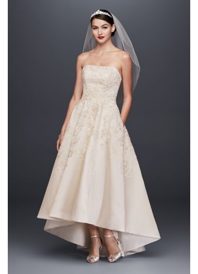 High Low A-Line Formal Wedding Dress - Oleg Cassini