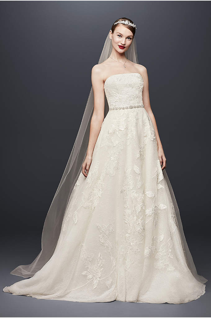 English Rose Lace Petite Ball Gown Wedding Dress - A softer take on the classic ball gown,