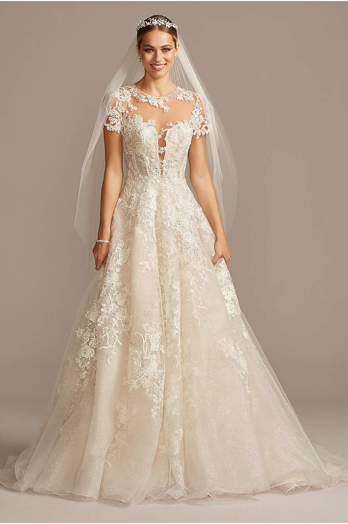 Cap Sleeve Lace Illusion Petite Wedding Dress