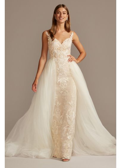 Lace Pee Wedding Dress With Tulle Overskirt