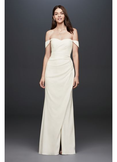 Off-The-Shoulder Crepe Sheath Petite Gown - Simple, elegant, and of-the-moment, this slim crepe sheath