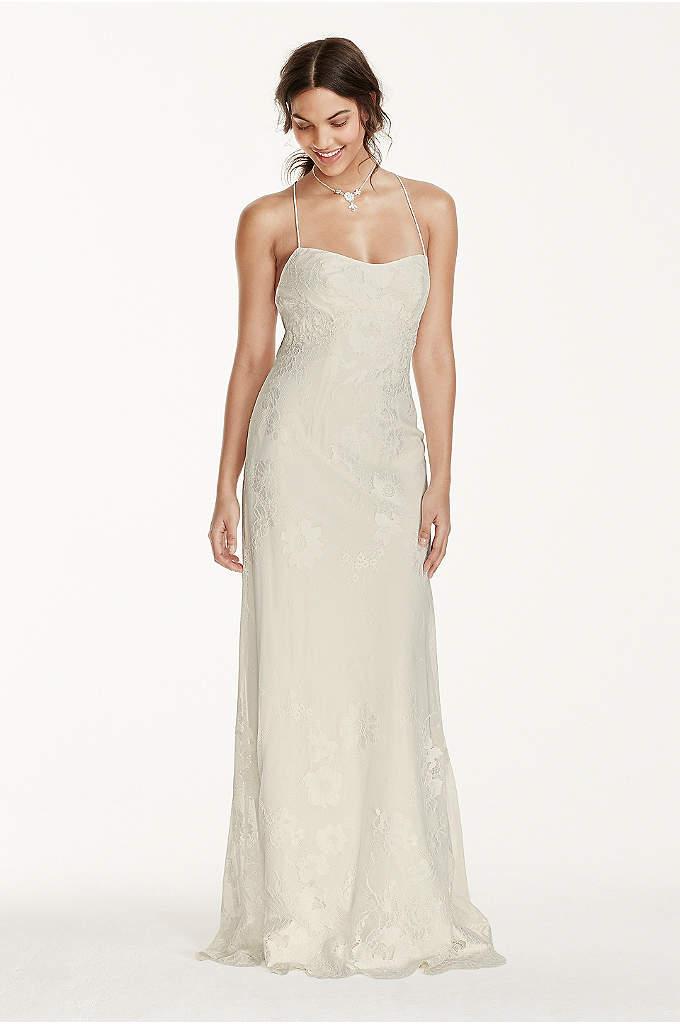 Petite Lace Sheath Dress with Low Crisscross Back