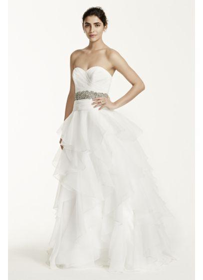 Petite Organza Wedding Dress with Ruffled Skirt | David\'s Bridal