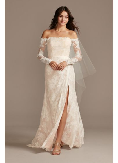 Large Floral Lace Long Sleeve Petite Wedding Dress - You'll be a vision of loveliness in this