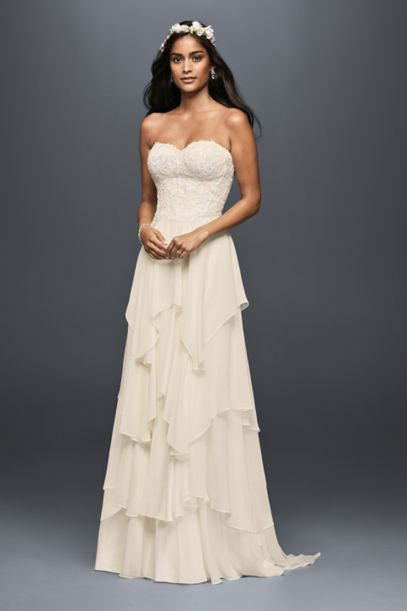 tiered wedding dress tiered chiffon a line wedding dress david s bridal 7997