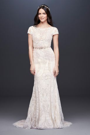 Laser-Cut Lace Cap Sleeve Petite Wedding Dress - With a stained glass-inspired motif, this slim sheath