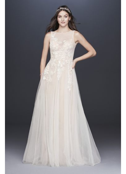 Embroidered Floral Tulle Petite Size Wedding Dress - As light and airy as a cloud, this