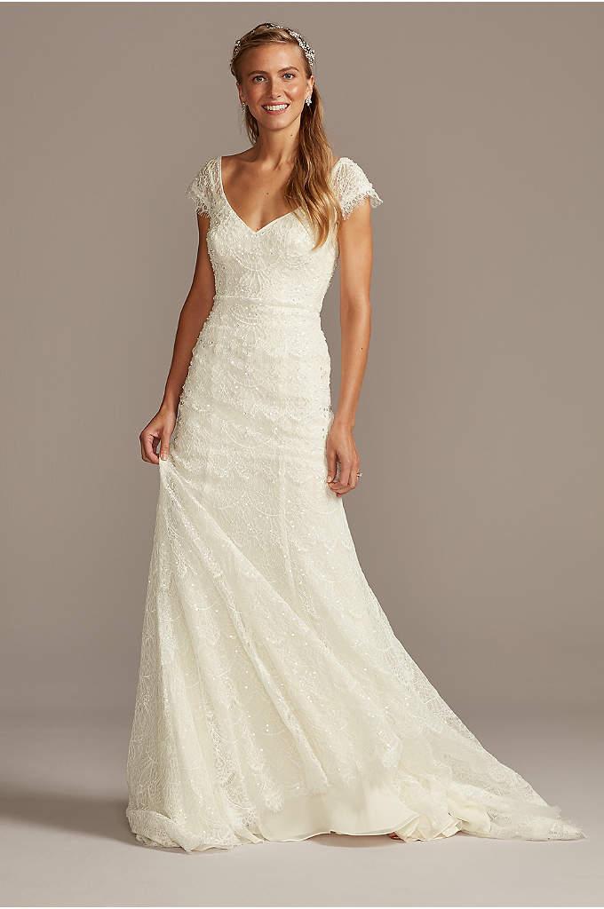 Hand Beaded Lace Cap Sleeve Petite Wedding Dress
