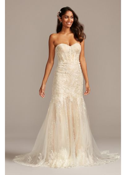 Embellished Lace Corset Petite Wedding Dress - Embellished with embroidered appliques and sequins, this lace