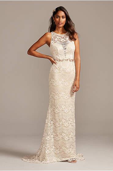 Plunge Illusion Chantilly Petite Wedding Dress