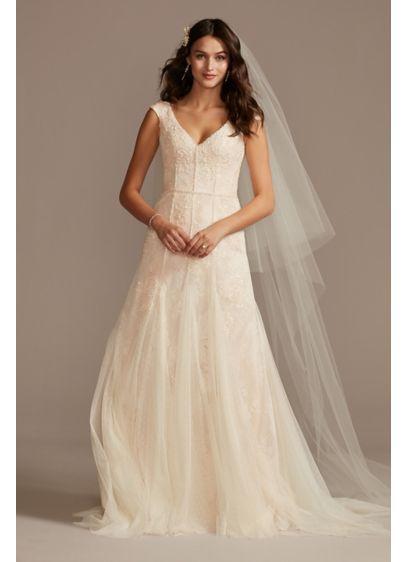 Cap Sleeve Point DEsprit Petite Wedding Dress - Featuring embroidered dot trim, an underlayer of sequin