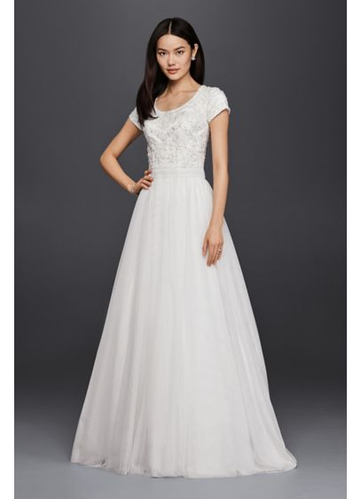 Modest Short Sleeve Petite A-Line Wedding Dress - This modest A-line wedding dress with short sleeves