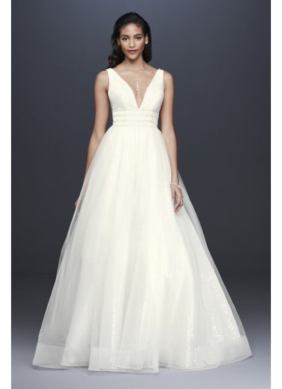 Plunging Sequin Tulle Petite Wedding Dress - Soft tulle floats above an allover sequin underskirt,