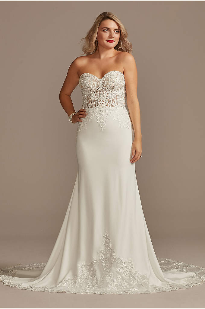 Sheer Beaded Bodice Lace Petite Wedding Dress