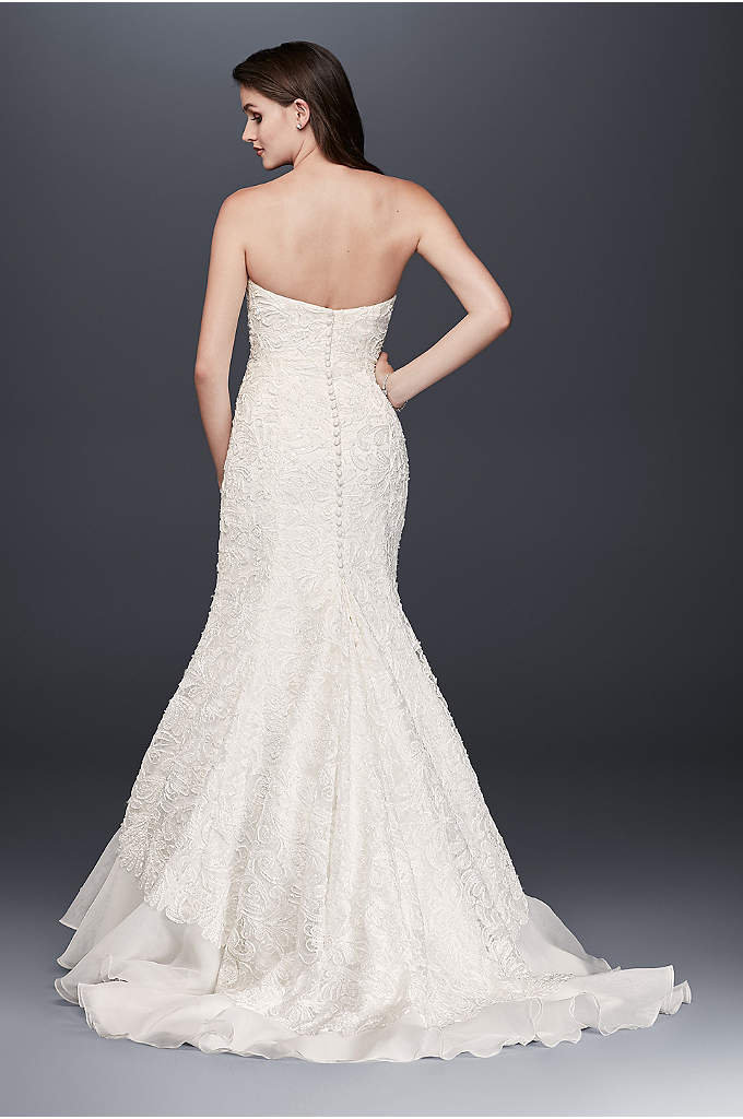 Petite Lace Over Charmeuse Gown - Elegant and unique, this lace-over-charmeuse trumpet gown balances