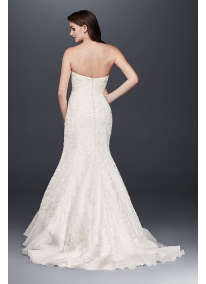 Petite Lace Over Charmeuse Gown | David\'s Bridal