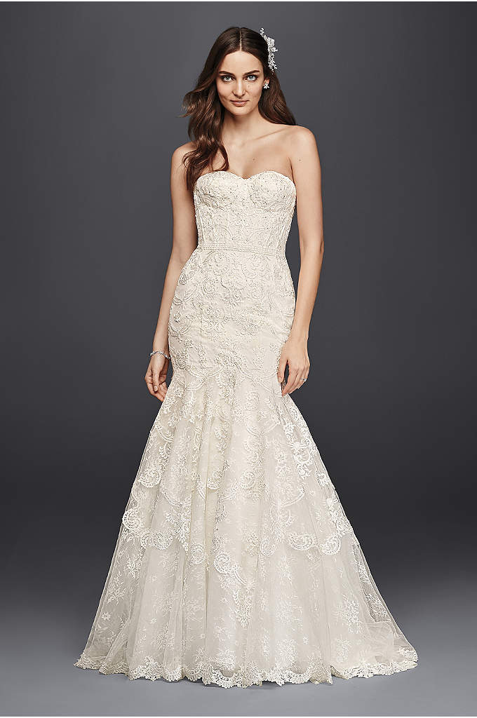Corseted Petite Mermaid Lace Wedding Dress - Five different styles of lace make up the