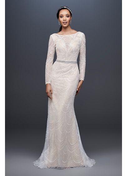 Long Sheath Boho Wedding Dress - Galina Signature