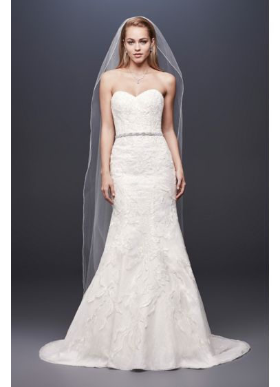 Beaded Lace Strapless Petite Mermaid Wedding Dress - Tonal beading and sequins lend subtle sparkle to