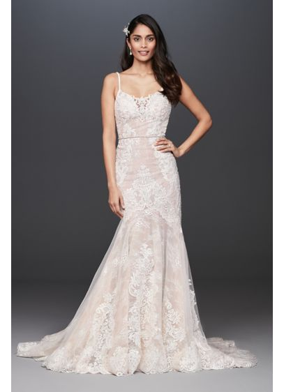 Moonstone Embellished Petite Lace Wedding Dress - Turn heads in this luxurious lace mermaid plus-size