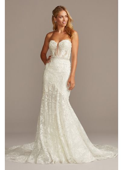 Beaded Brocade Embellished Petite Wedding Dress - The picture of sultry romance, this alluring wedding