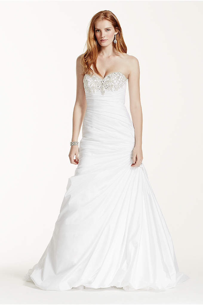 Petite Taffeta Wedding Dress with Beaded Bustline - Showcasing intricate accents in all the right places