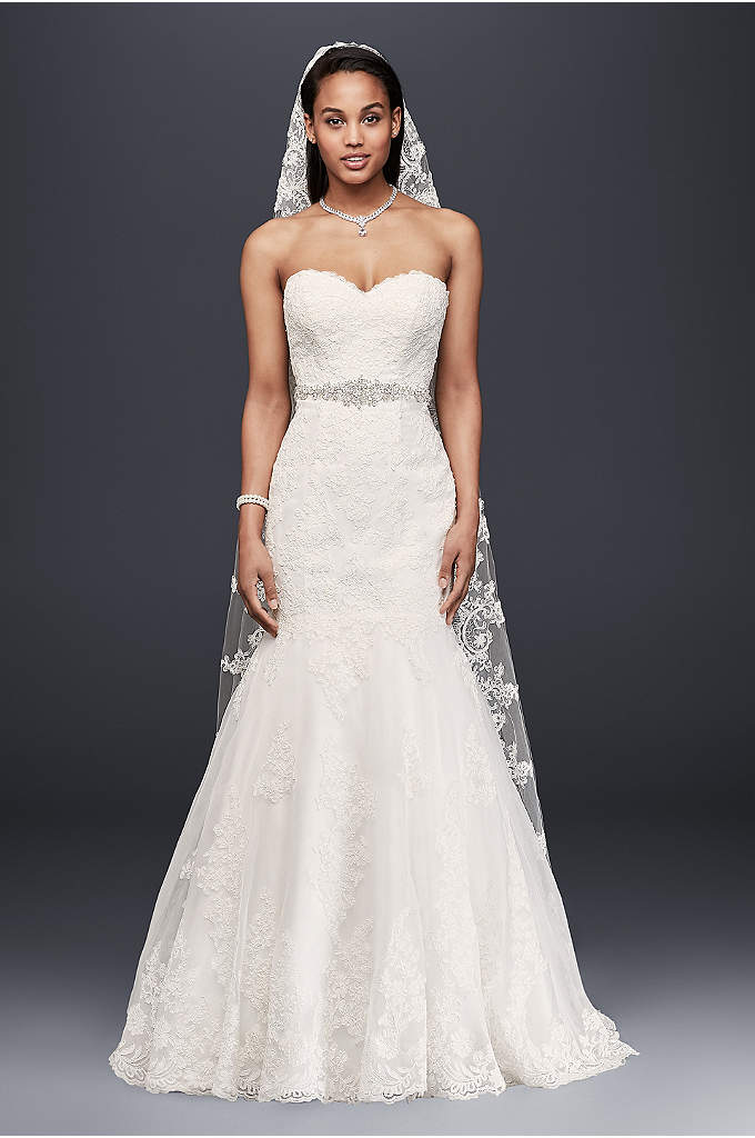 Petite Strapless Wedding Dress with Beaded Sash - Gorgeous lace trumpet gown with chic scalloped hem