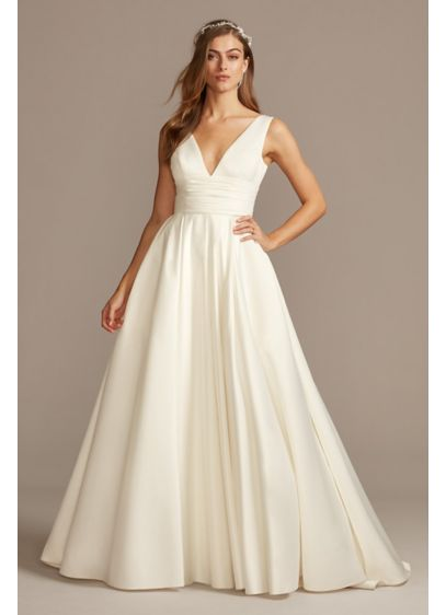 Satin Cummerbund Ball Gown Petite Wedding Dress | David\'s Bridal