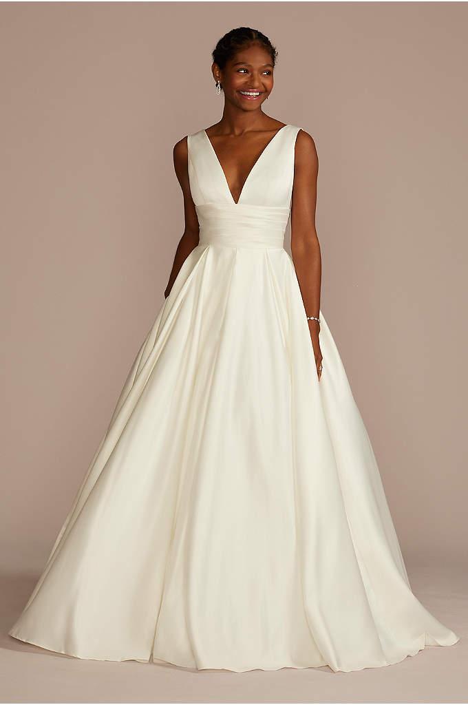 Satin Cummerbund Ball Gown Petite Wedding Dress - A traditional wedding dress with just a hint