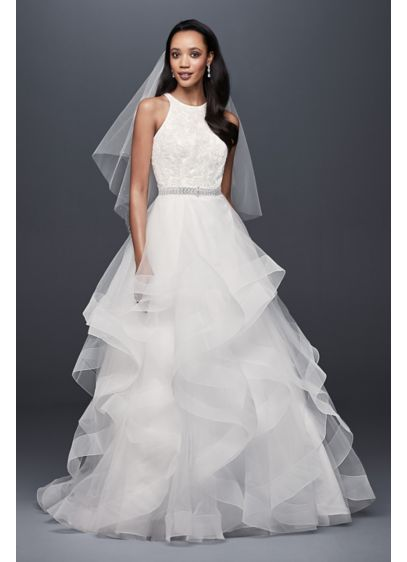 Sequin Tulle Petite Ball Gown with Tiered Skirt - This high-neck ball gown wedding dress features a