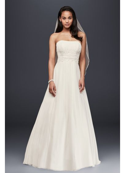 af62d52ea3e Chiffon Beaded Empire Waist Petite Wedding Dress. 7V9743. Long A-Line Beach Wedding  Dress - David s Bridal Collection