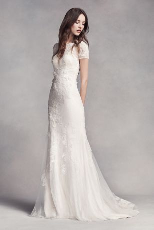 White by Vera Wang Cap Sleeve Petite Wedding Dress | David\'s Bridal