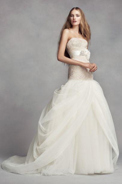 White By Vera Wang Petite Tulle Wedding Dress David S Bridal