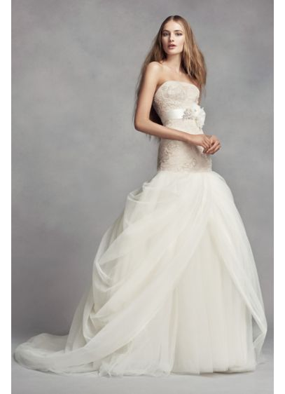 White by Vera Wang Petite Tulle Wedding Dress - Hand-beaded appliques are delicately veiled with tulle on